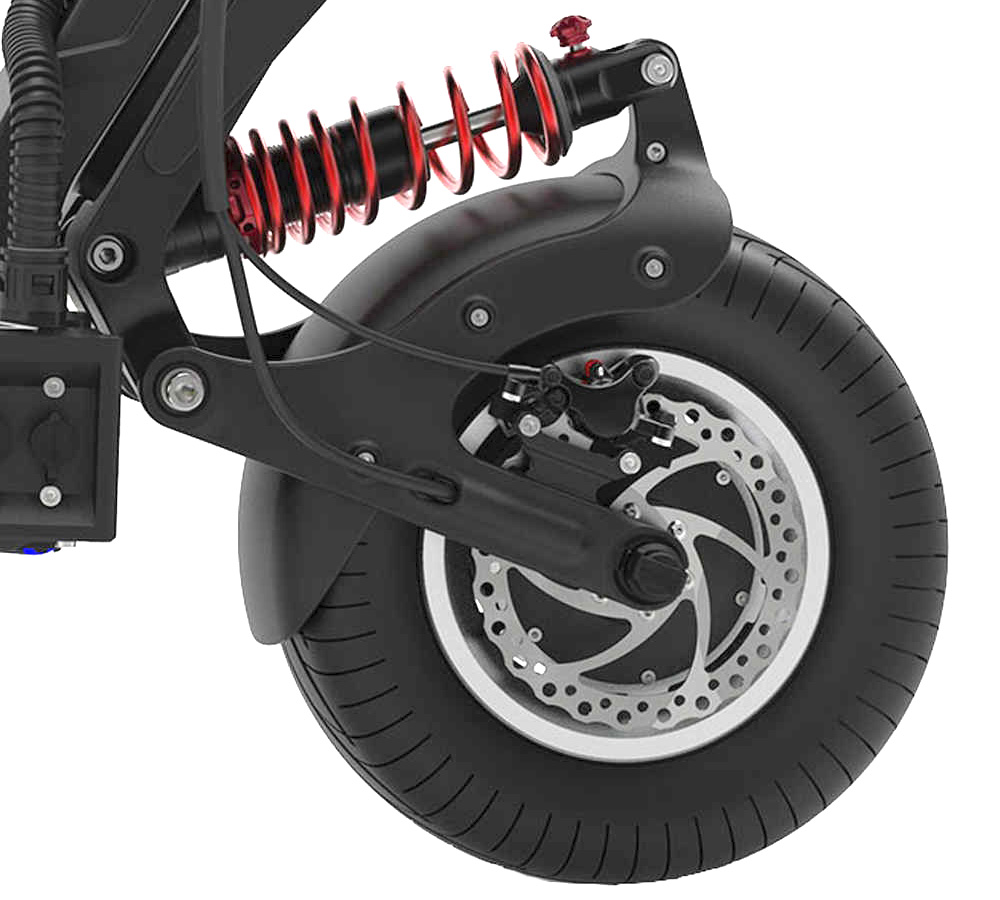 Picture of the front suspension and wheel of the Dualtron X2 electric scooter