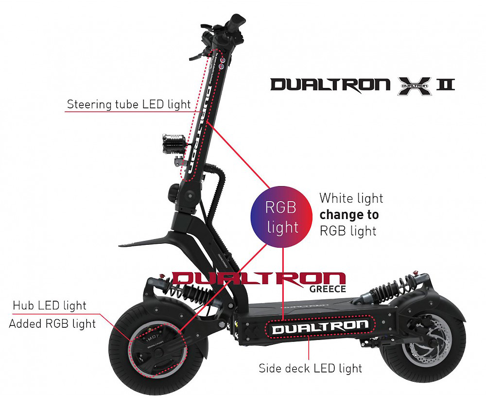 Picture of the various led lighting parts of the Dualtron X2 Scooter