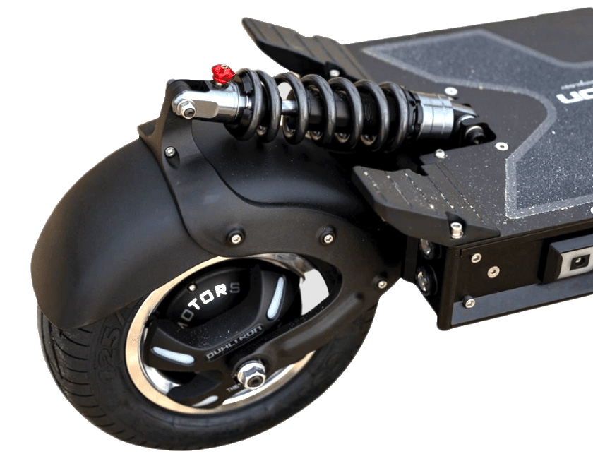 Picture of the rear suspension and wheel of the Dualtron X2 Scooter