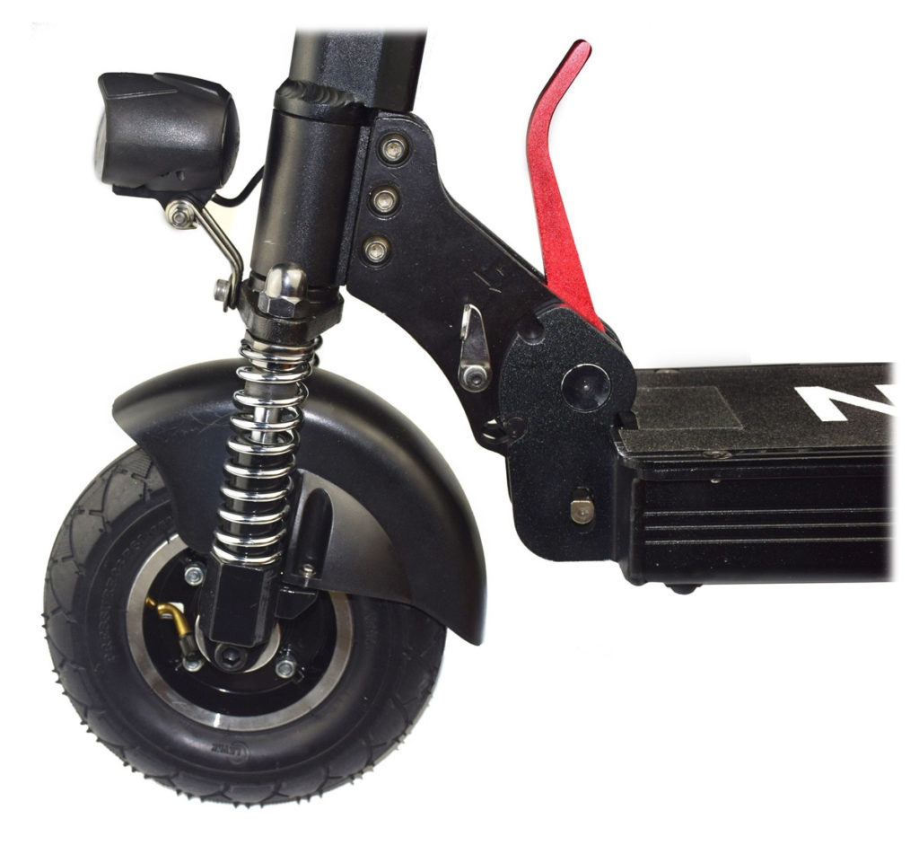 Image of the Nanrobot X4 e-scooter's front wheel.