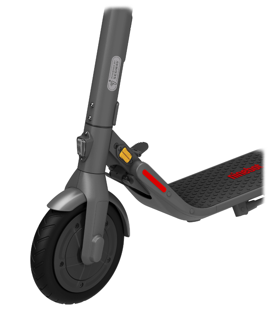 Picture of the front wheel of the Ninebot E22E electric scooter