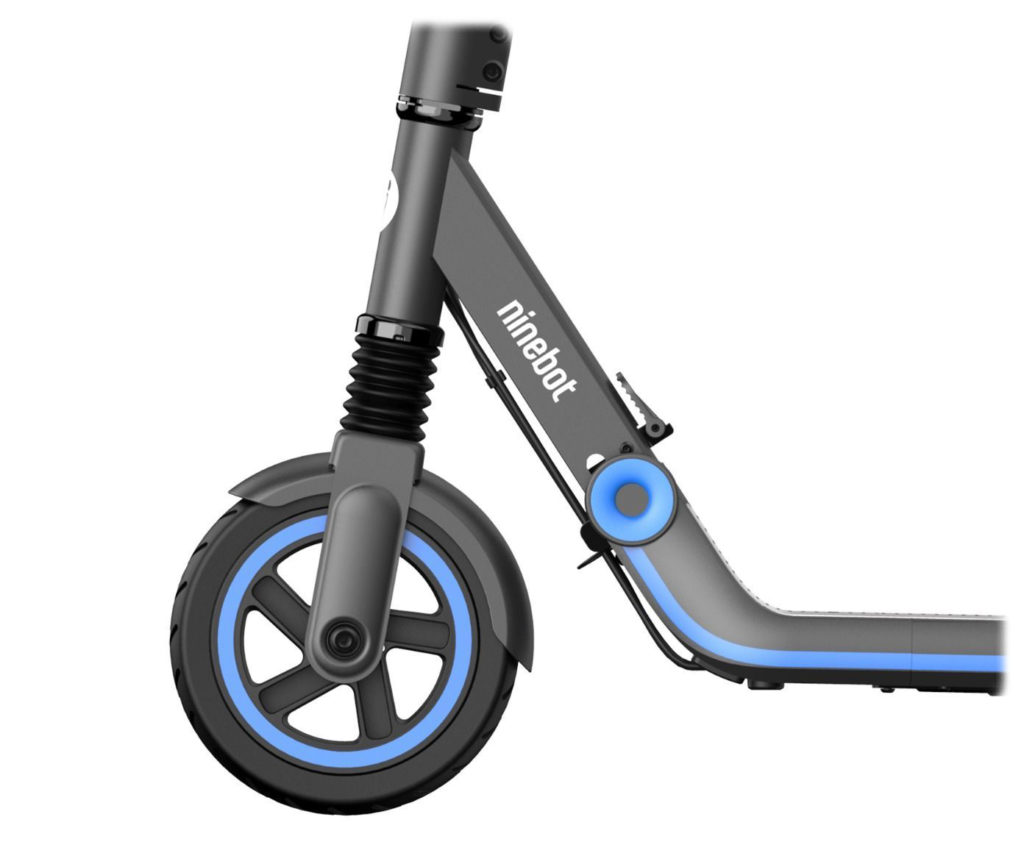 Picture of the front wheel on an electric scooter