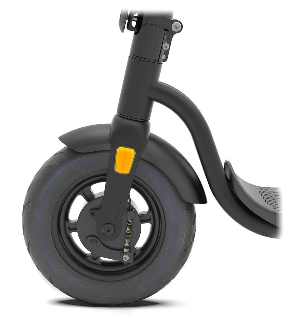 a picture of the front wheel of the Pure Air electric scooter