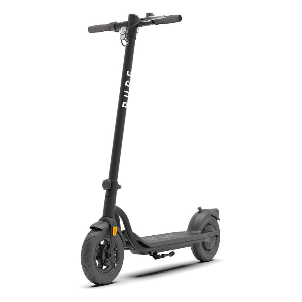 main leading image of the Pure AIr electric scooter standing upright.