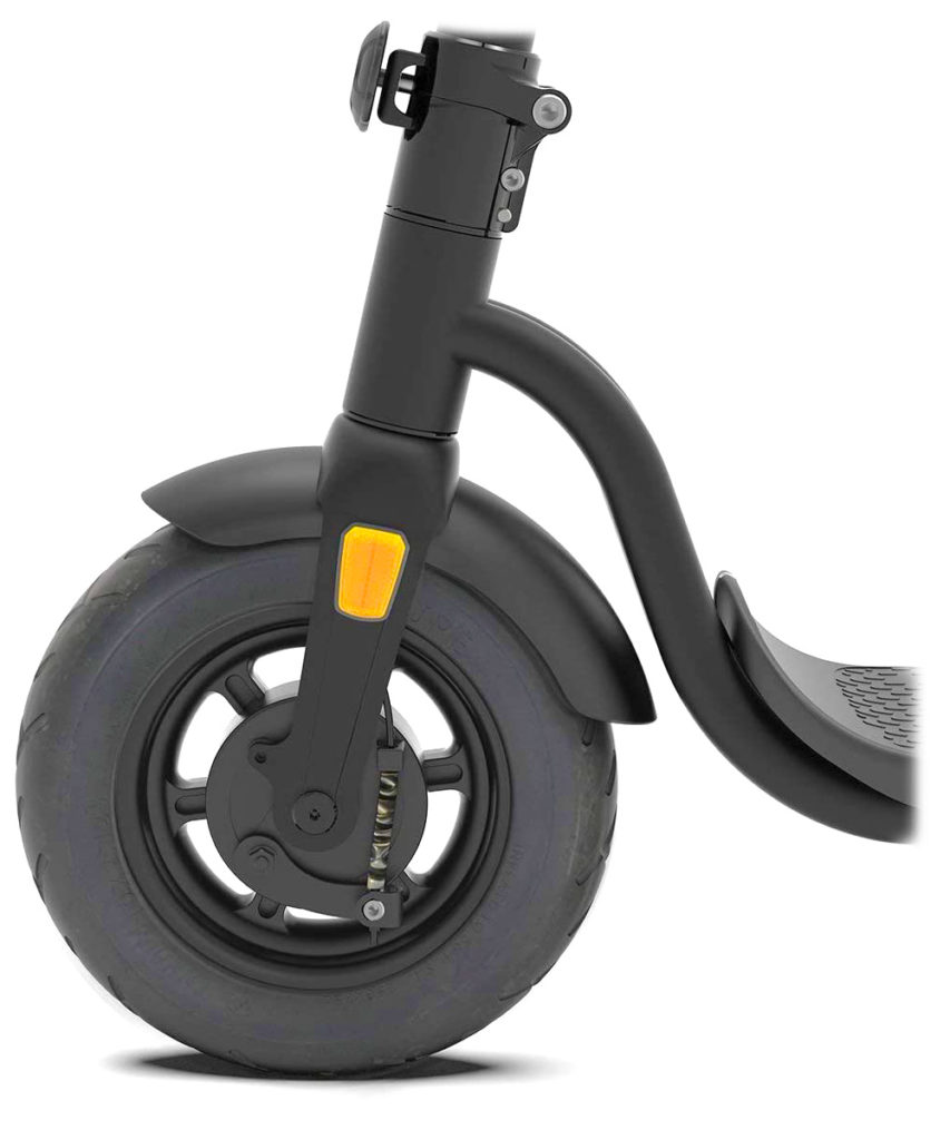 Picture of the front wheel of the Pure Air Pro electric scooter
