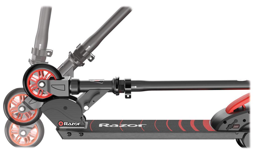 The Razor Black Label escooter folded up