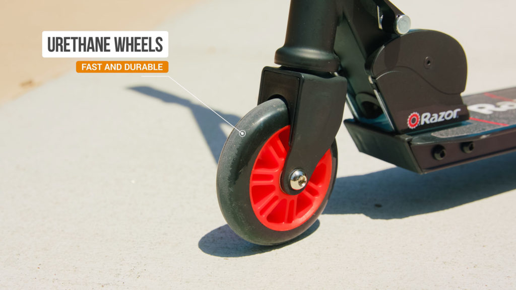 Picture of the front wheel of the Razor Turbo A electric scooter
