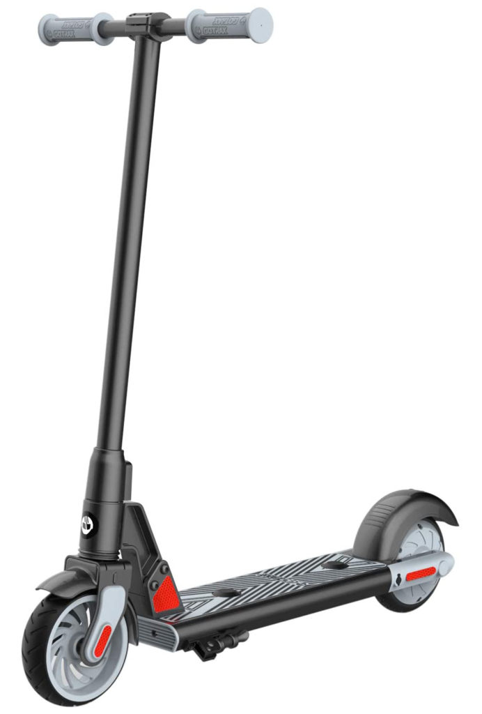 The GoTrax GKS electric scooter standing upright