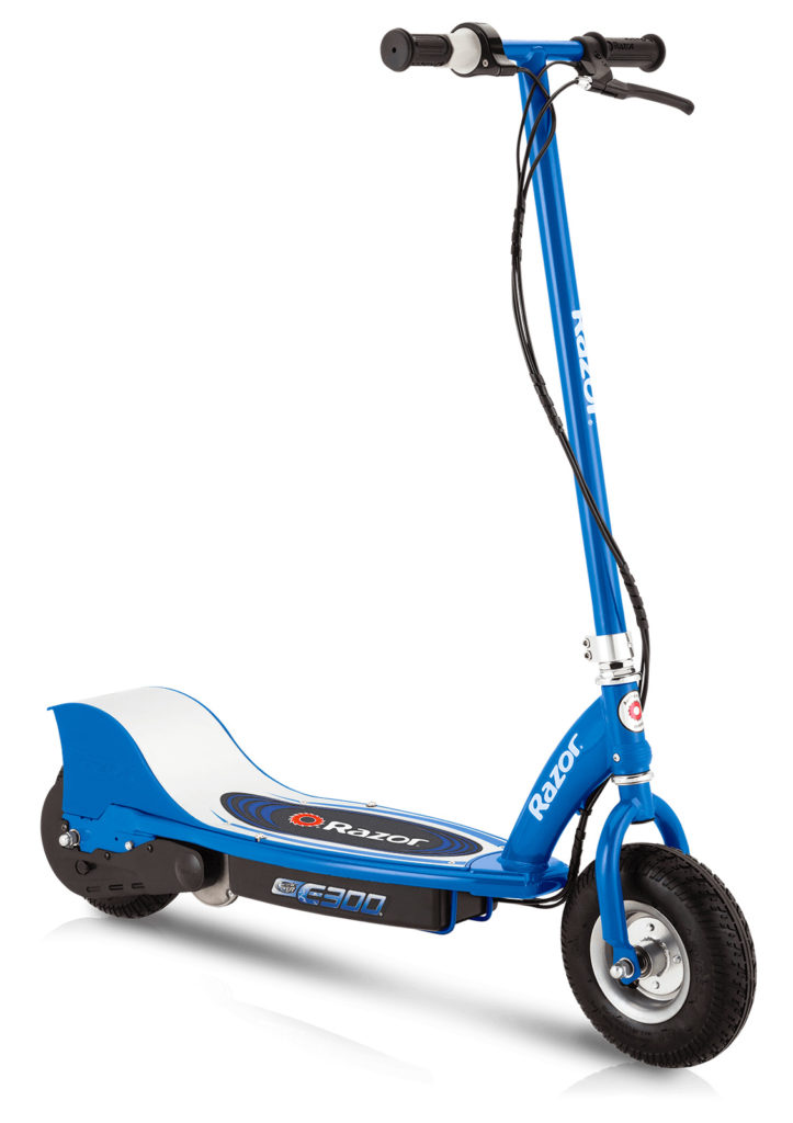An image of the Razor E300 electric scooter standing upright