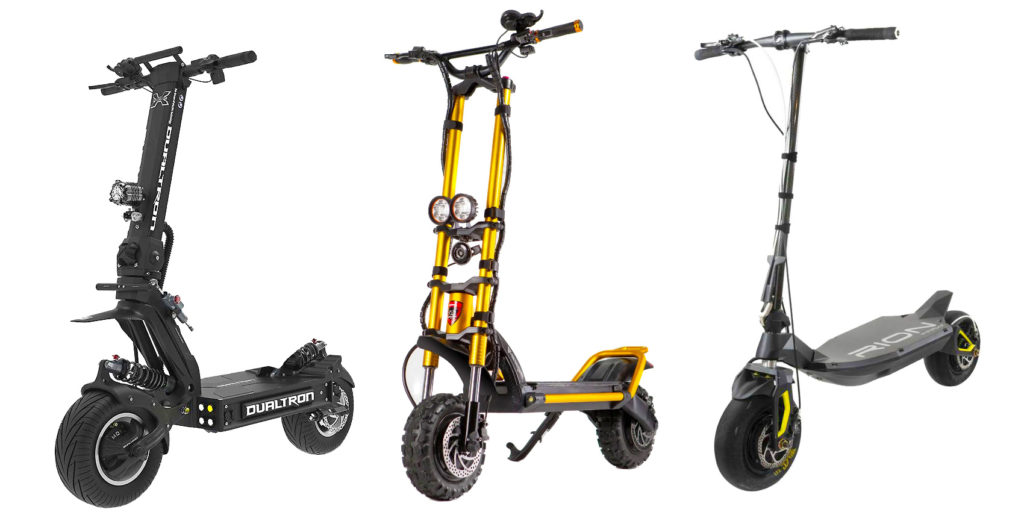 The hero image of three of the fastest electric scooters