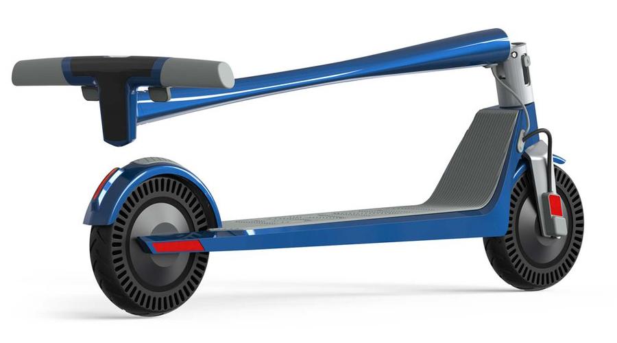 A picture of the Unagi Model One E500 e-scooter, folded up
