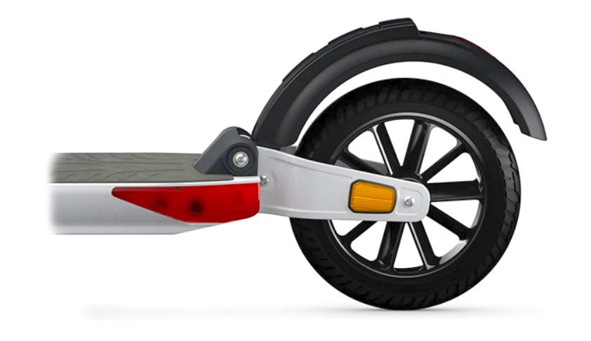 Picture of the rear wheel of the Uscooters Booster Sport electric scooter